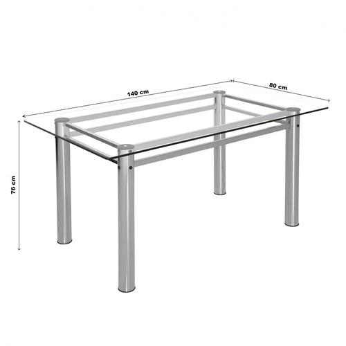 conjunto mesa tampo vidro 140cmx80cm 6 cadeiras ca