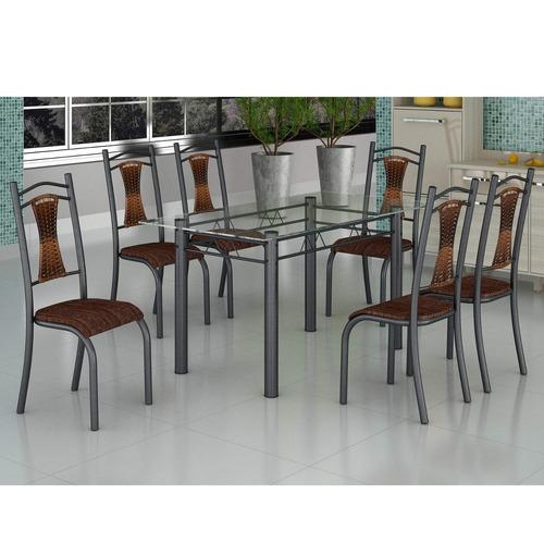 conjunto mesa tampo vidro e 6 cadeiras tubular ie