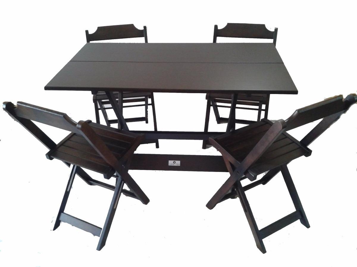 Conjunto mesas 4 cadeiras dobraveis 120x70 em madeira r for Mesa 4 sillas para restaurante