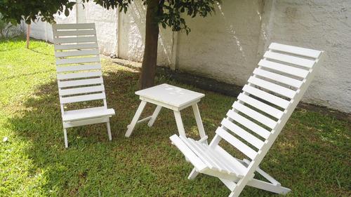 conjunto  mesas e cadeiras desmontáveis em madeira maciça
