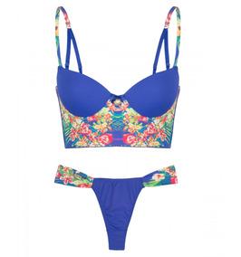 9b02db7dab9e56 Conjunto Mini Corpete E Calcinha Fio Floral Blue