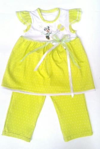 conjunto minnie mouse para niña bata + pantalón verde