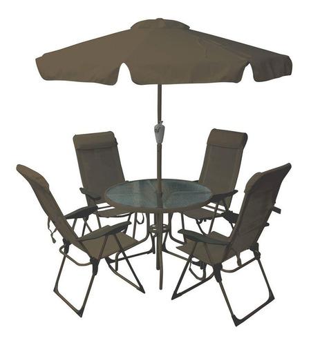 conjunto mônaco com cadeiras mesa e ombrelone marrom belfix