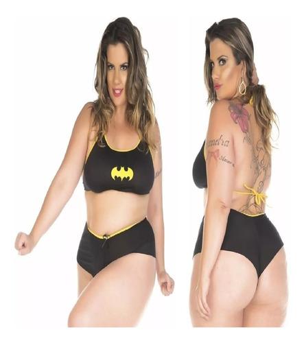 conjunto moda adulta plus size batgirl heróis carnaval