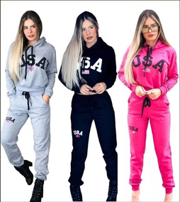 3f7e8f7fa Conjunto Moleton Feminino - Moletom Femininas Rosa chiclete no Mercado  Livre Brasil