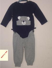 3533d2b5261168 Conjunto Moletom Infantil Bebê Menino Urso 9/12 Meses