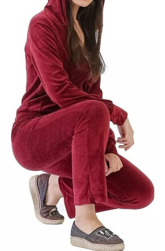 conjunto moleton feminino de veludo manga longa inverno
