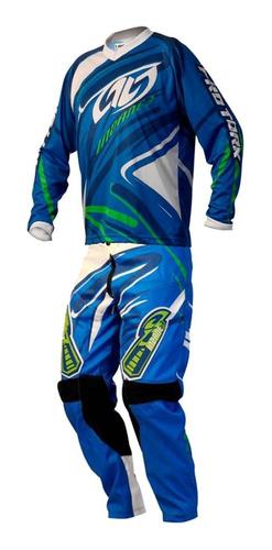 conjunto motocross pro-tork insane3 azul. en gravedadx
