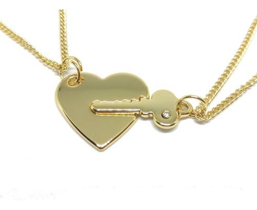 conjunto namorados colar chave coração banho ouro 18k casal
