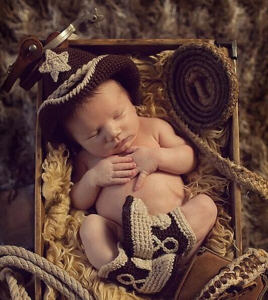 cb2d922a35c29 Conjunto Newborn Cowboy Croche Ensaio Fotografico - R  45