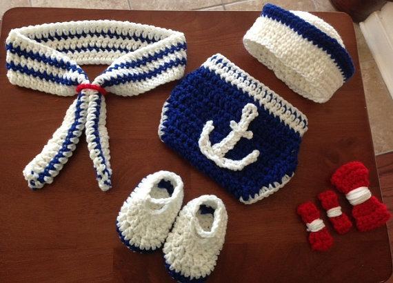Conjunto Newborn Marinheiro E ou Marinheira De Crochê - R  79 73993b4ddd0