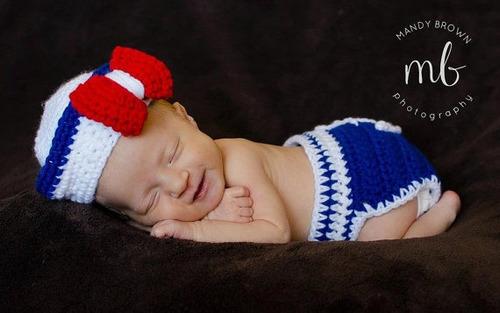 conjunto newborn marinheiro e/ou marinheira de crochê