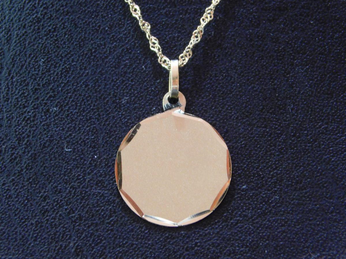 3edf0115b78b Conjunto Oro 18 K Medalla Para Grabar Biselada Y Cadena -   10.199 ...
