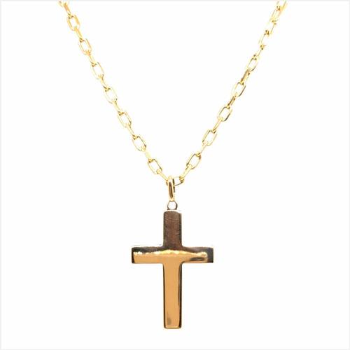 conjunto oro 18k cadena cruz hombre (c253)