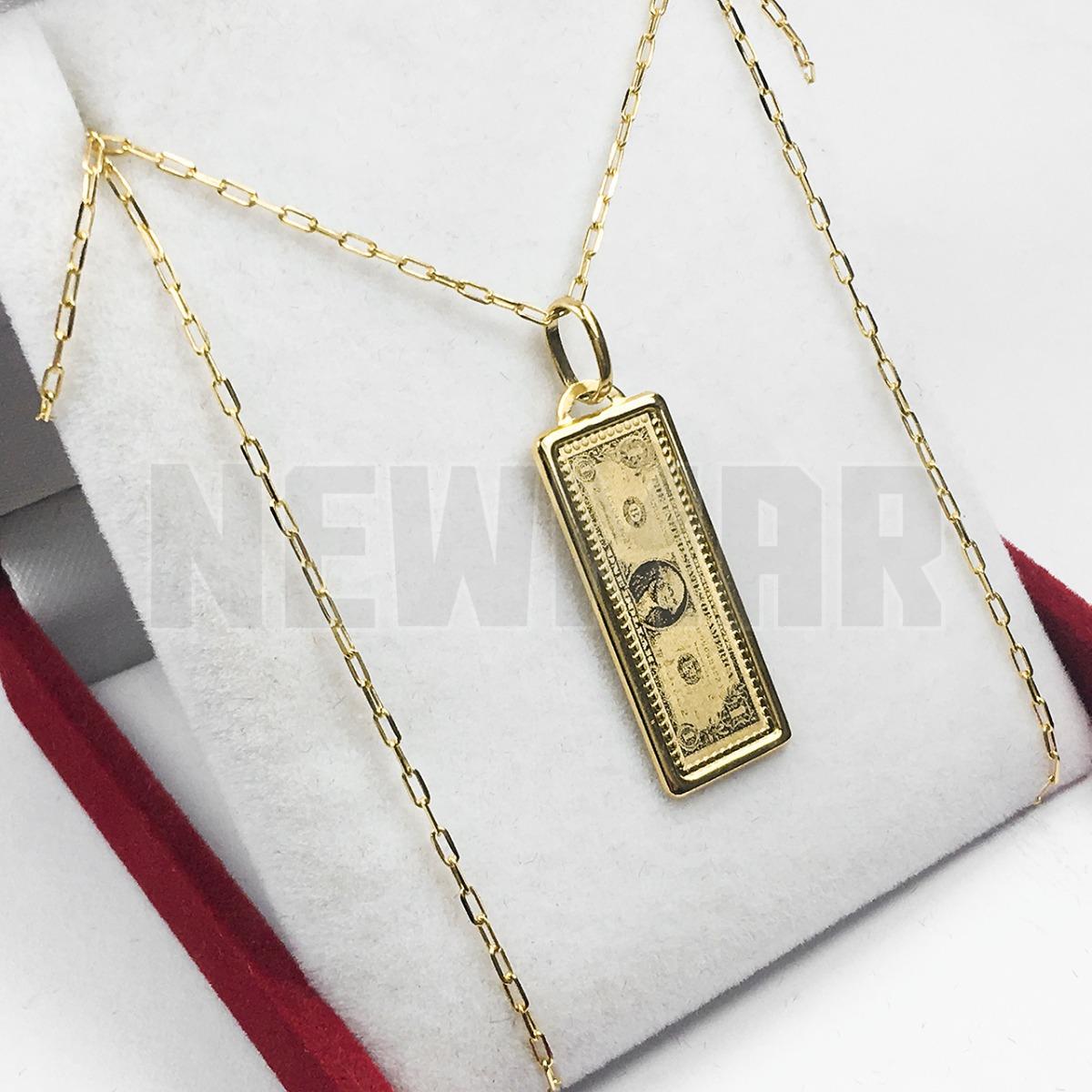 05b4fdc7a0e8 Conjunto Oro 18k Cadena + Dije Dolar 3