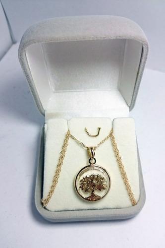 conjunto oro 18k cadena singapur y medalla arbol de la vida