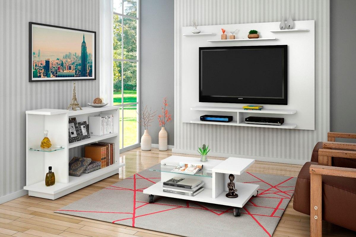Armario Oriental Barato ~ Conjunto Painel Tv, Mesa De Centro E Aparador Sala Branco R$ 639,70 em Mercado Livre