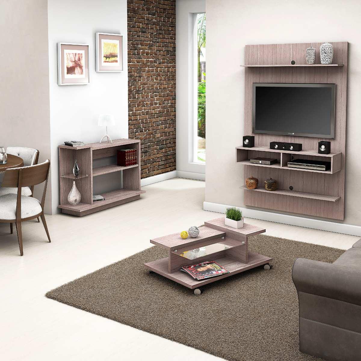 Conjunto painel tv mesa de centro e aparador sala vanilla for Mesa de centro sala