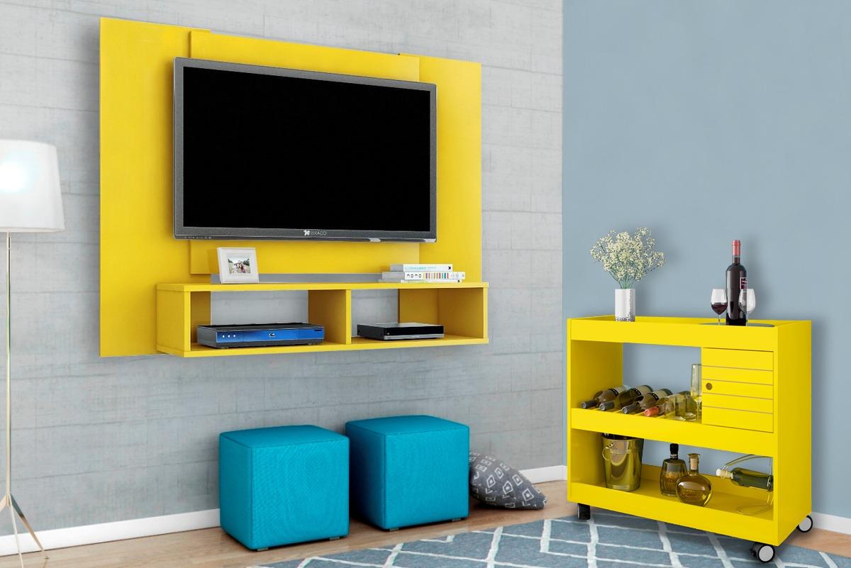 Conjunto Painel Tv Navi Mais Aparador Sala Estar Cor Amarelo R
