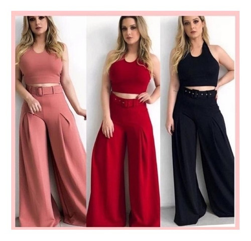 conjunto pantalona - cropped - alfaiataria - frete grátis