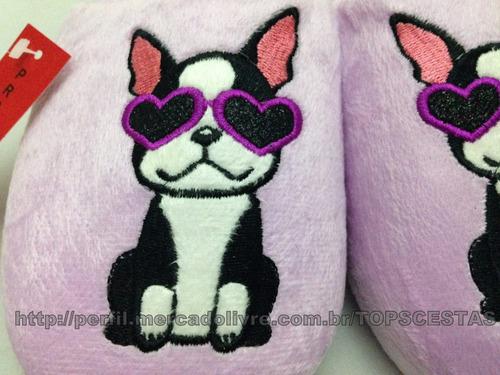 conjunto pantufa + chinelo 34/35 cachorro de óculos roxo