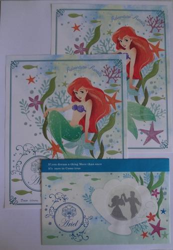 conjunto papel de carta princesas ariel importado lote 176