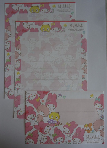 conjunto papel de carta sanrio my melody importado lote 171