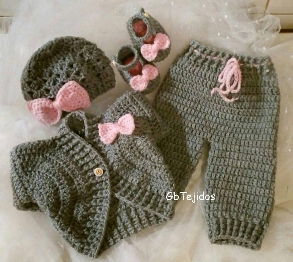 5d5cc2cad Conjunto Para Bebe Tejido Al Crochet