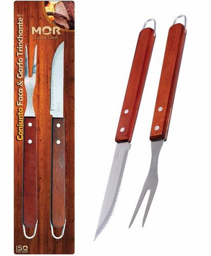 conjunto para churrasco faca e garfo trinchante