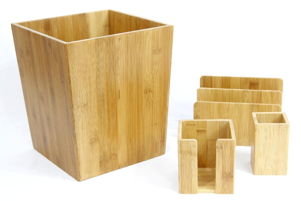 Conjunto Para Escritório Bambú Lixeira Porta Caneta Madeira R$ 259  #894D08 1200x802