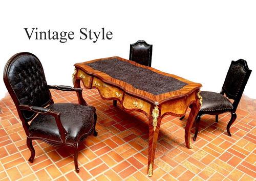 conjunto para escritório vintage escrivaninha e 3 poltronas