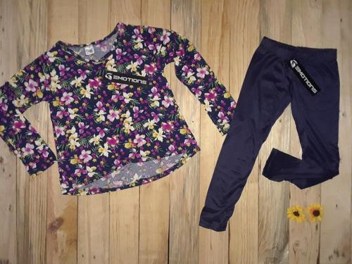 conjunto para niña sweater manga larga leggins floreado azul