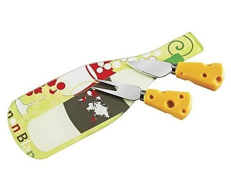 conjunto para queijo 03 pçs - verde claro