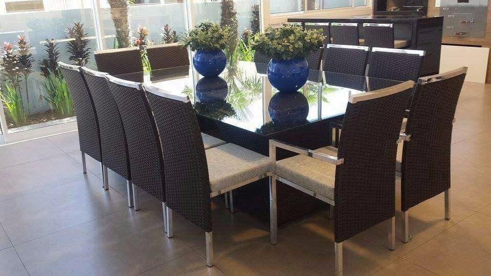 Conjunto Para Sala De Jantar Mesa E 12 Cadeiras Em Alumínio R