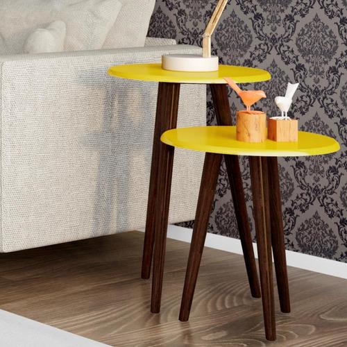 conjunto para sala estar mesa lateral e apoio amarelo brilho