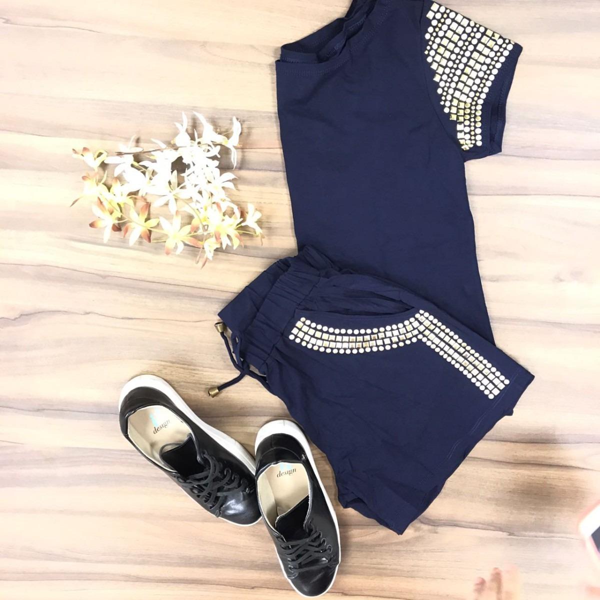 79696b5b07 conjunto pedraria shorts + blusa roupas da moda feminina top. Carregando  zoom.