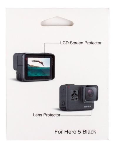conjunto película protetora gopro hero 5 6 tela lcd e lente
