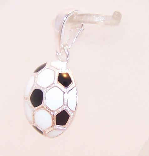 conjunto pelota fútbol plata 925 esmaltada mitad + cadena