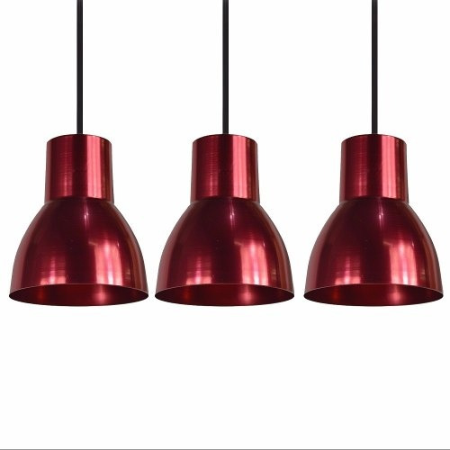 conjunto pendente ferrara alumínio vermelha 3 cúpulas avelis