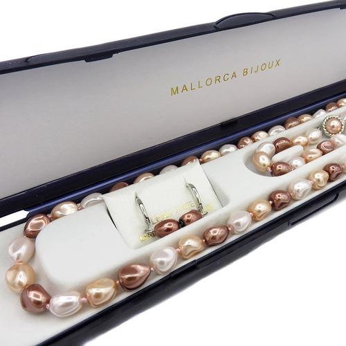 conjunto perla de mallorca barroca color bronce de 3 piezas.