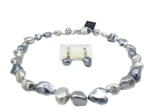 conjunto perla de mallorca barroca mediana combinada gris.