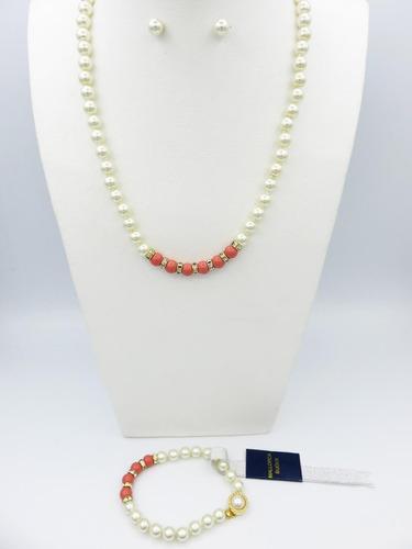 conjunto perla de mallorca clásica donas coral y strass.