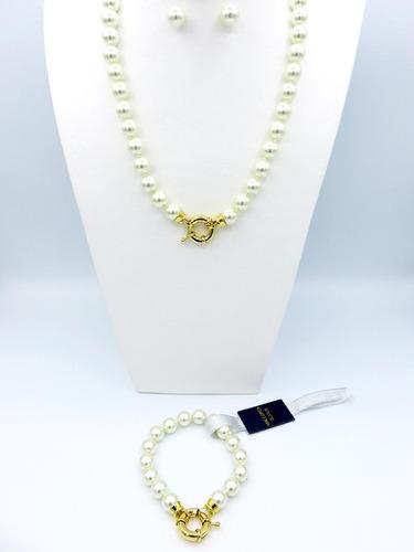 conjunto perla de mallorca clásicas n°10 con gancho marinero