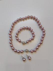 c333212f2a8b Conjunto Perlas Color Malva Collar+pulsera+aros