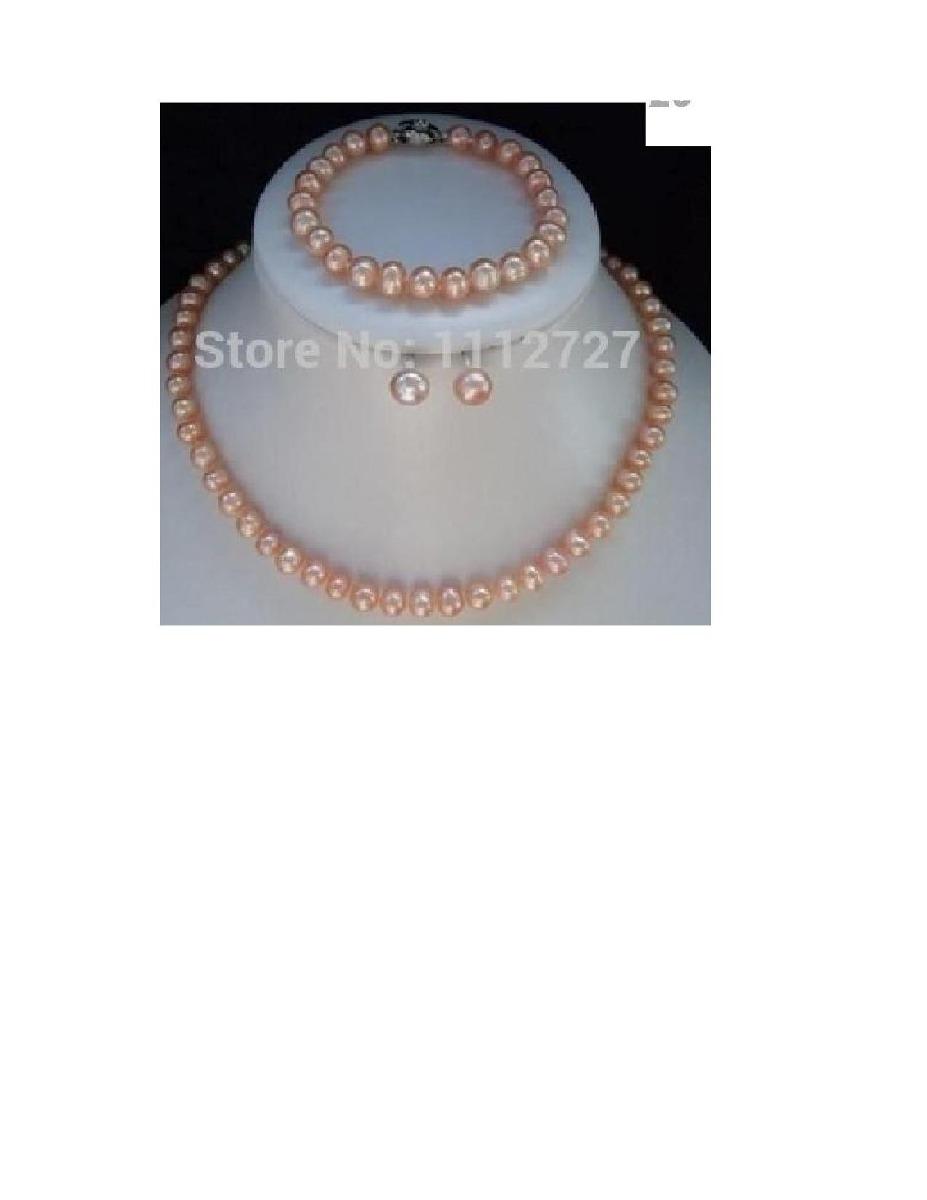 d3838fdac62b Conjunto Perlas Cultivadas Rosa Collar Pulsera Aros. -   65.000 en ...