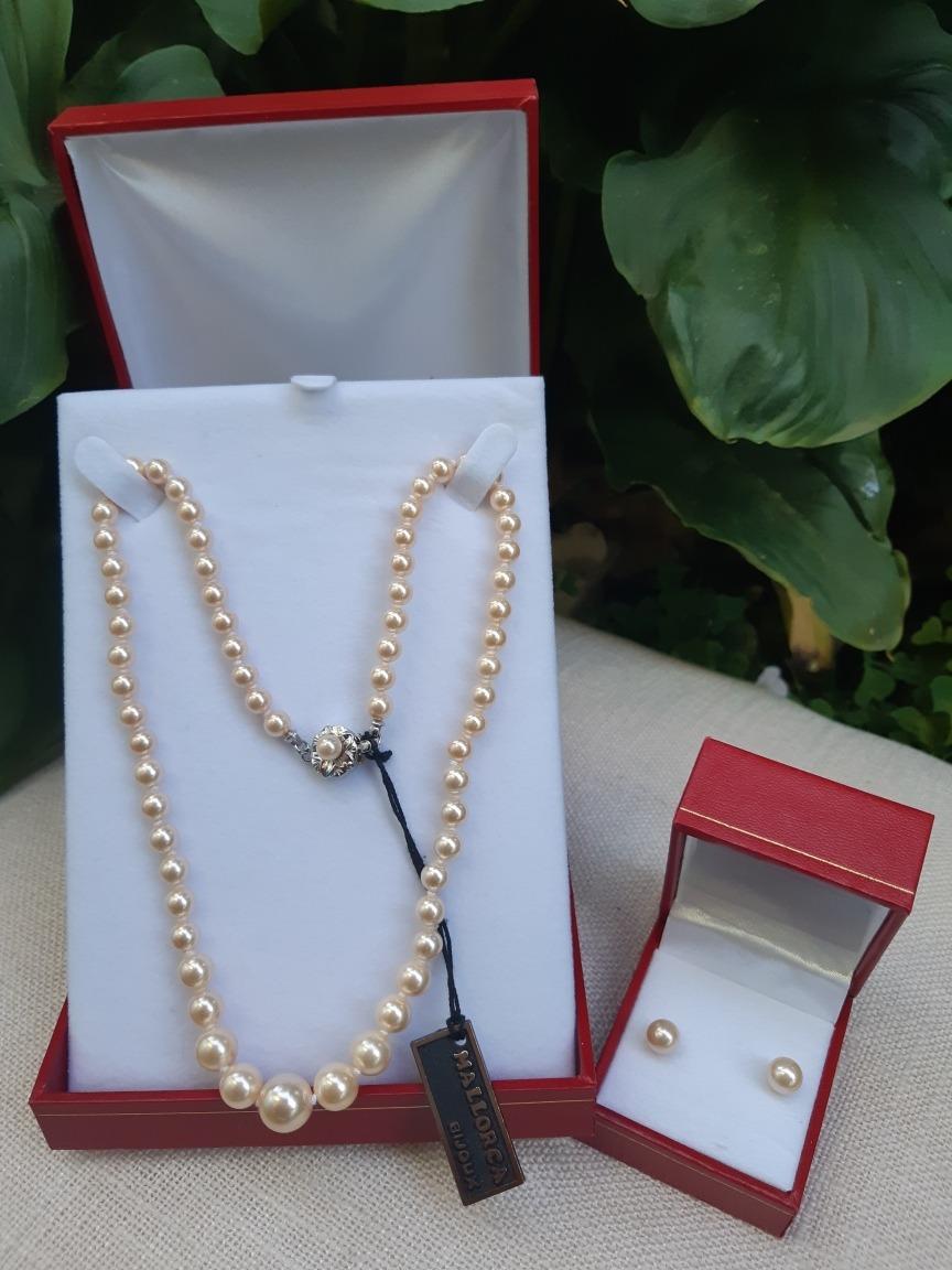 e9667cc5d3ba Conjunto Perlas Mallorca Collar + Aros -   29.999 en Mercado Libre