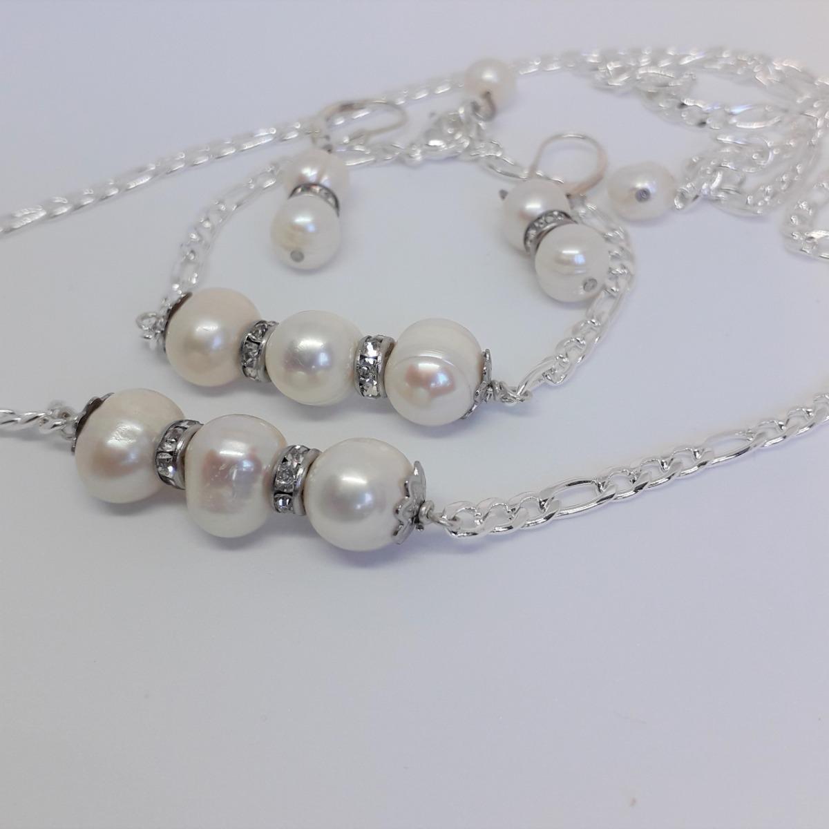 7605c6cdfb50 Conjunto Perlas Naturales Acero Collar+pulsera+aros+tiara -   1.437 ...