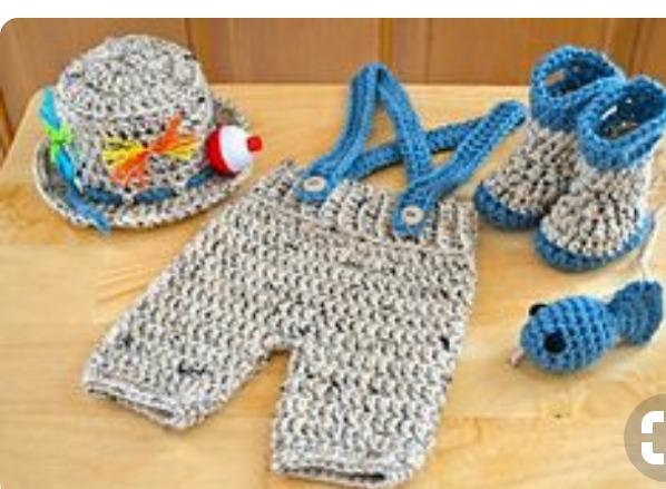 Conjunto Pescador Newborn Croche - R  90 958698afd39
