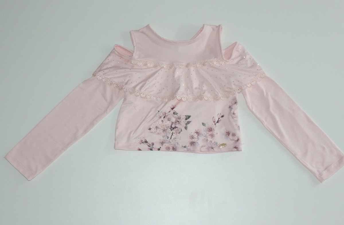 ed0aa395e4 conjunto petit cherie blusa manga longa e saia midi listrada. Carregando  zoom.
