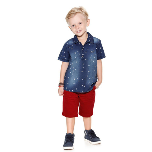 conjunto planet kids camisa/short aircraft azul/vermelho